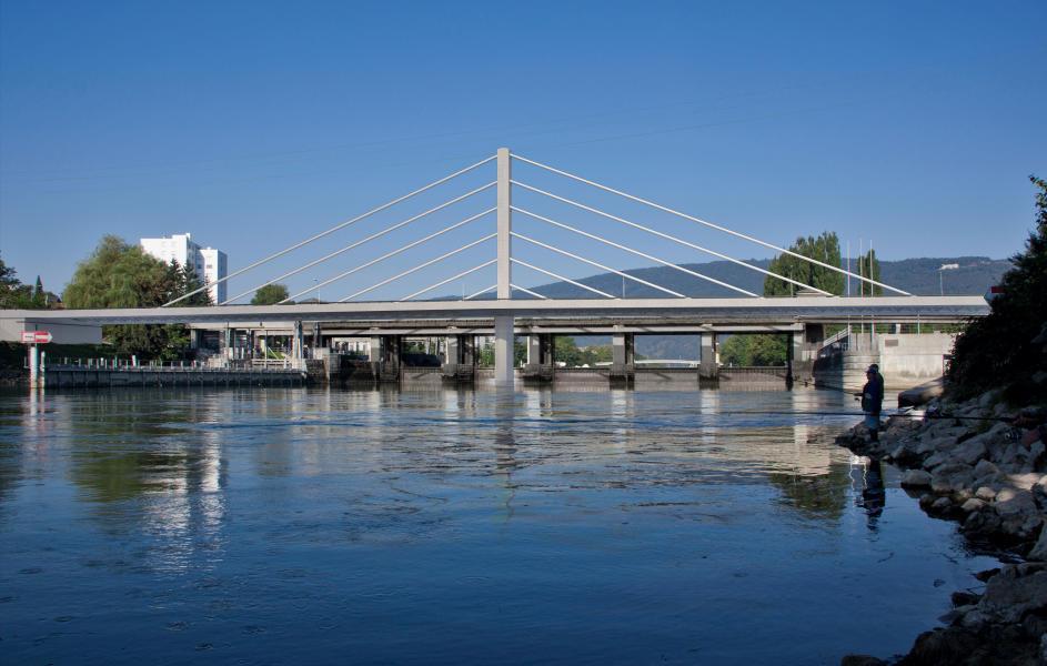 Städtebaulich nimmt die Schrägseilbrücke Bezug auf das Hochhaus (links) und den Hochkamin der KVA. (Visualisierung: Nightnurse Visualisierungen)