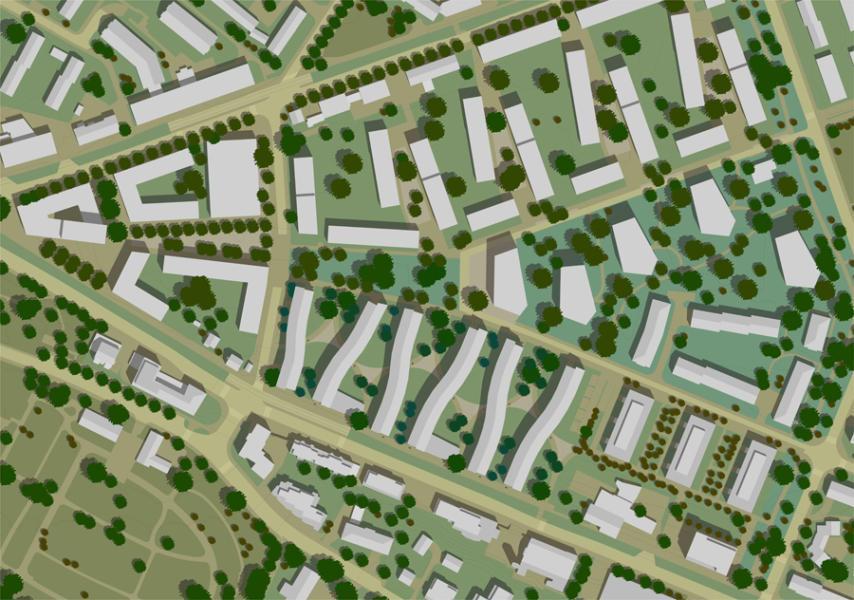 Das Siegerprojekt «Casarecce»: Die Neubauten schlängeln sich durchs Quartier – analog zu den sizilianischen Nudeln, die dem Projekt den Namen gaben. (Plan: Projektverfasser)