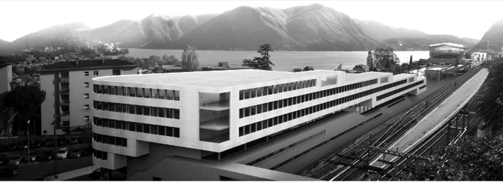Nuovo Campus Universitario SUPSI Città alta - Stazione FFS di Lugano (Foto: Cruz Ortiz - Giraudi)