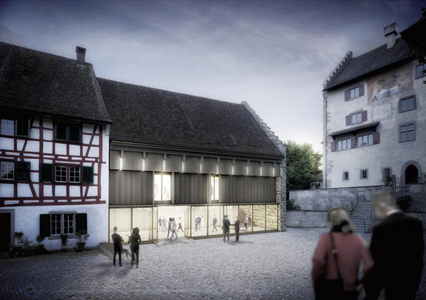 Das Siegerprojekt: Die Öffnung und Verglasung im Erdgeschoss sorgten in der Jury für Diskussionen. (Visualisierung: Projektverfasser)