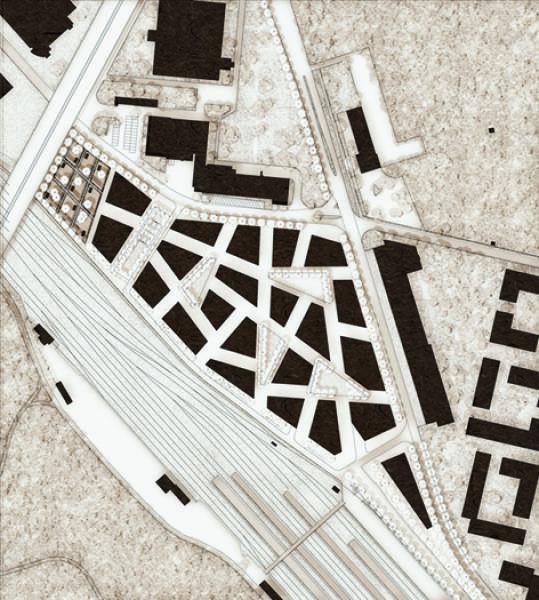 Das Quartier als geometrische Operation: Das Siegerprojekt arrangiert Gebäude und Aussenräume zu einem Konglomerat aus Vielecken. (Plan: Projektverfassende)