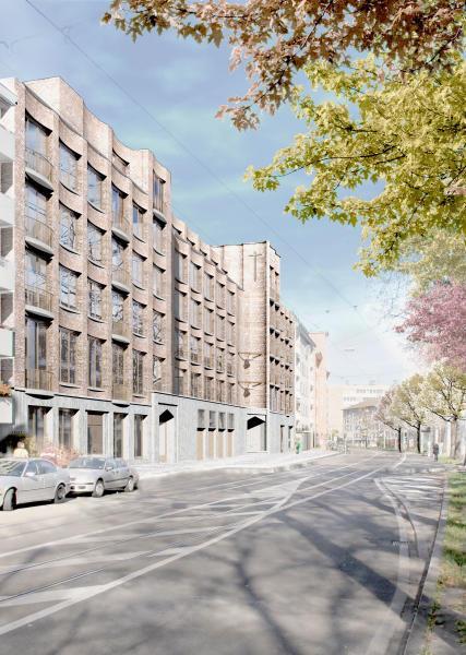 Die horizontale und vertikale Gliederung der Fassade im Siegerprojekt vermittelt geschickt zwischen öffentlichem Ausdruck und einer Einordnung in den Kontext. (Visualisierung: Projektverfassende)