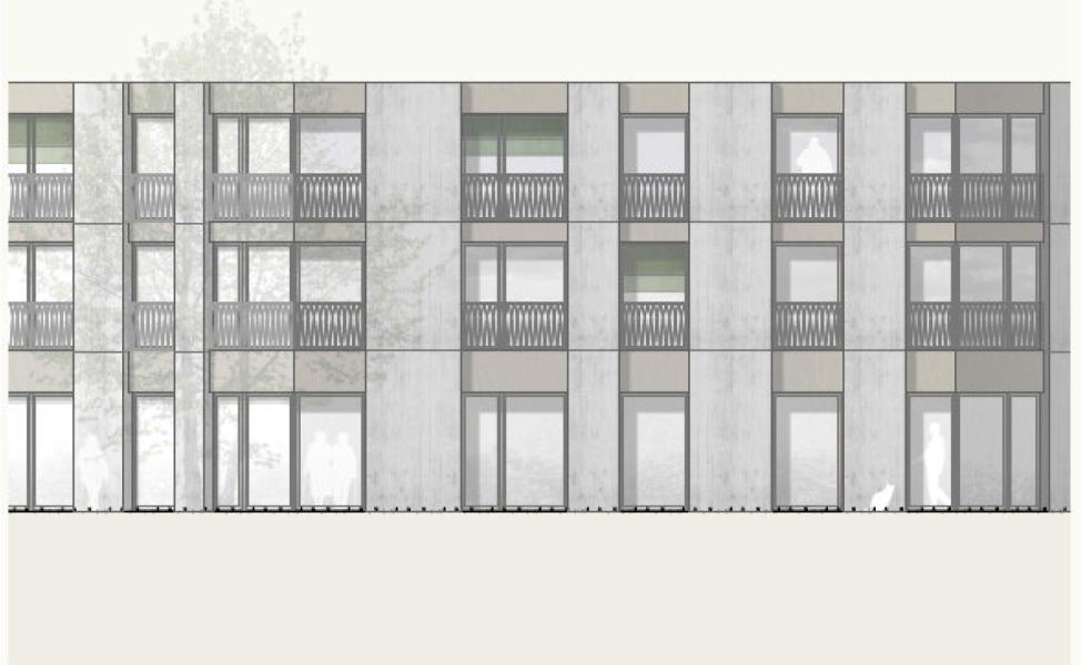 Siegerprojekt Hans im Glück von nuak architekten, Fassadenansicht (Plan: Projektverfassende)