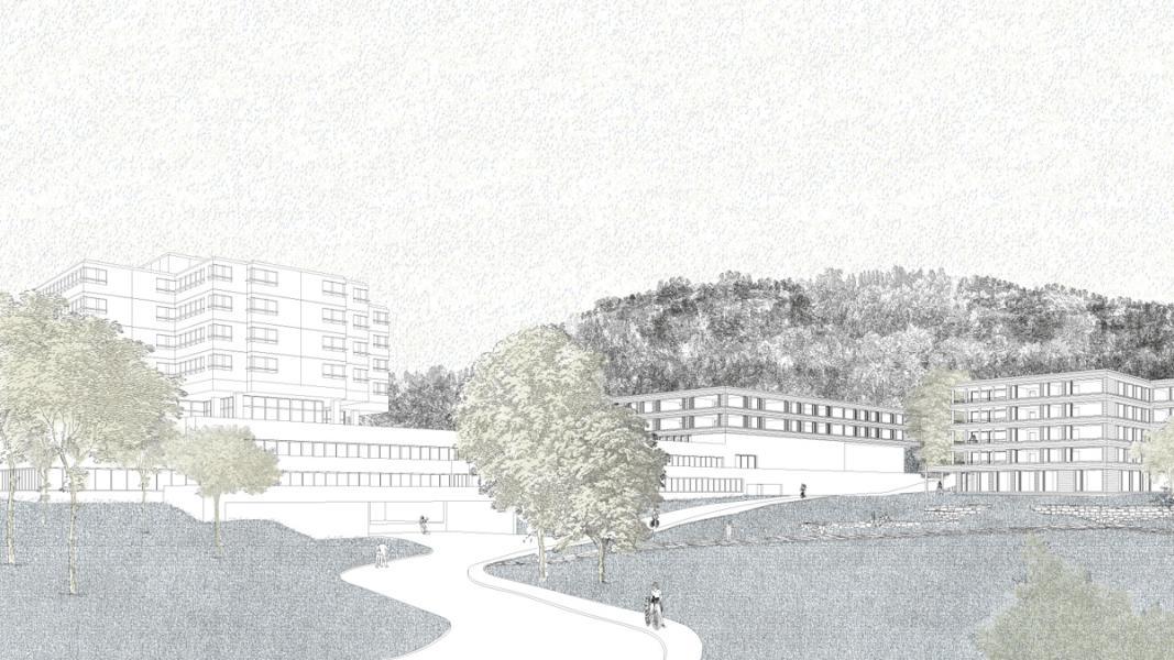 1. Rang «Forel» von Burkhard Meyer Architekten, Perspektive (Visualisierung: Projektverfassende)