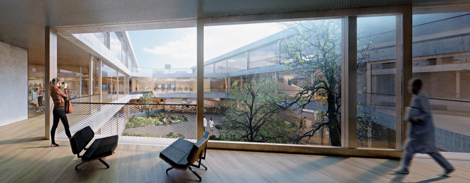 Der Innenhof als zentrales Element verbindet im erstrangierten Projekt die verschiedenen Nutzungen und Trakte des Neubaus. (Visualisierung: Projektverfasser)