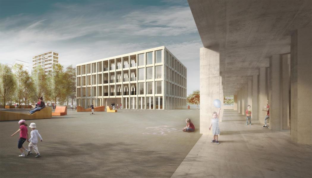 Siegerprojekt «Klee»: Die neuen Baukörper stehen wie grosse Pavillons im Freiraum. (Visualisierung: Kast Kaeppeli Architekten)