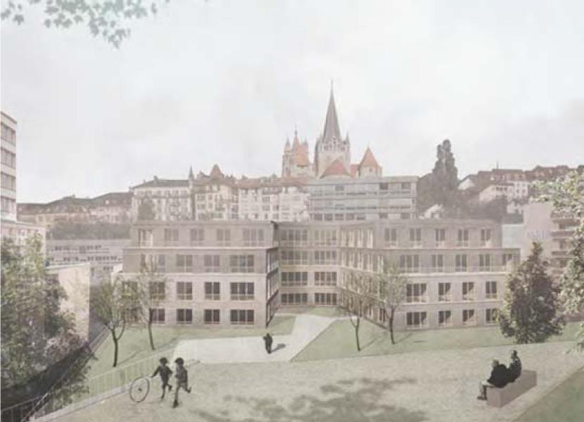 """""""Le manteau"""": vue depuis le parc (Alain Wolff architectes / visuel: grau grau grau)"""