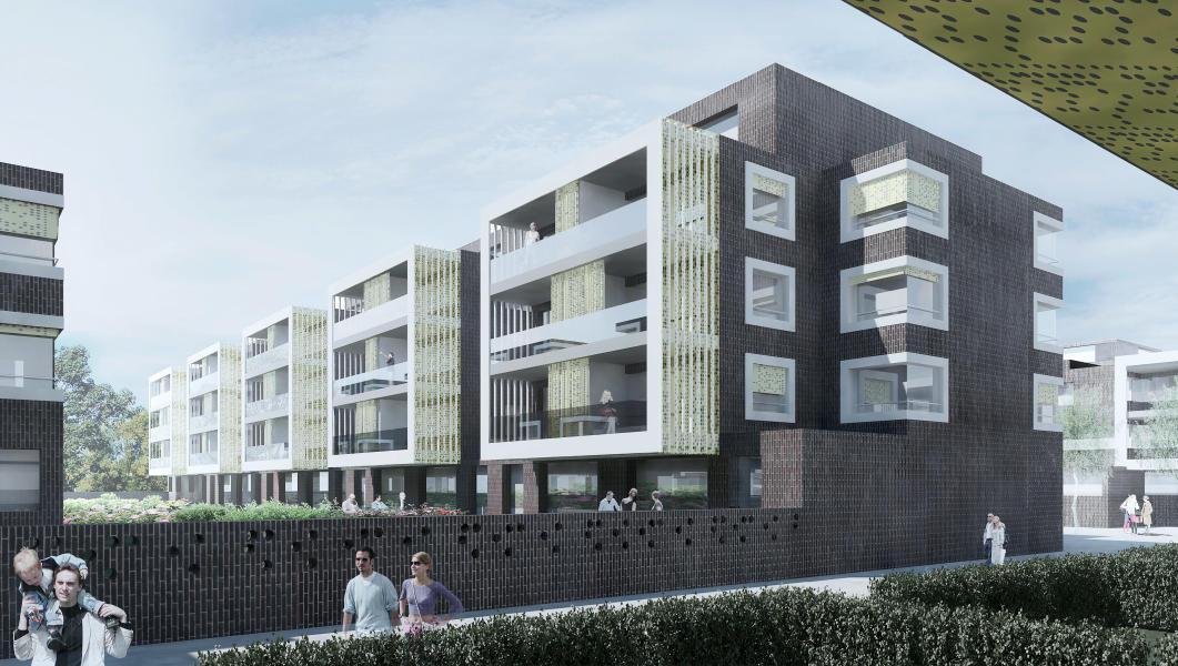 Siegerprojekt nadelstreifen: Gebäude Baufeld F. (Visualisierung: Projektverfasser)
