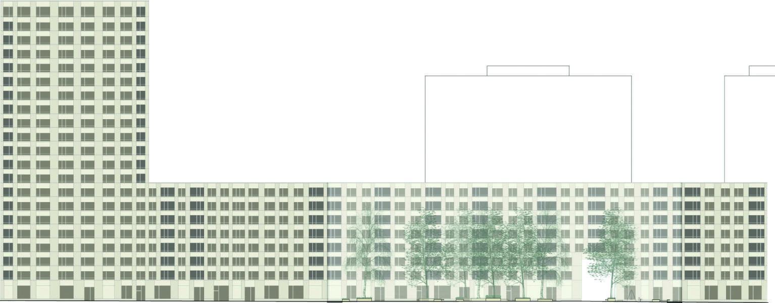 Siegerprojekt «Mira»: die zurückhaltende Nordostfassade, vom Gleisfeld aus gesehen. (Plan: Projektbeteiligte)