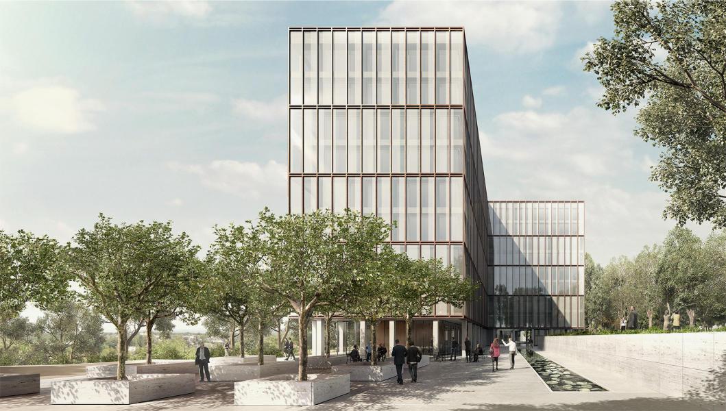 Das Siegerprojekt «Phönix» bricht die Kleinteiligkeit der bestehenden Fassade mit einer stockwerkübergreifenden Gliederung auf. (Visualisierung: Projektbeteiligte)