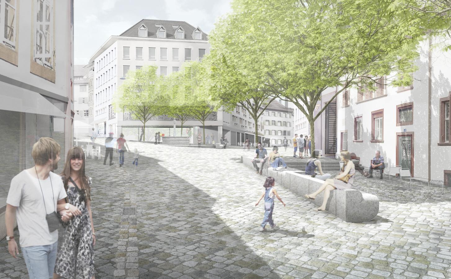 1. Rang «Platzlichtung» von Franz Reschke Landschaftsarchitektur (Visualisierung: Projektverfasser)