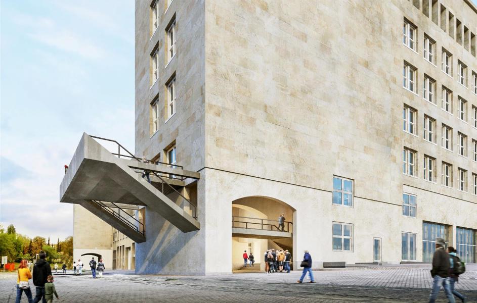 Siegerentwurf von :mlzd: Die Stahltreppe vom EG ins 1. OG missfiel zwar der Jury, setzt aber ein starkes Zeichen. (Visualisierung: Projektverfassende)