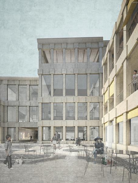 Siegerentwurf von ARGE Fiechter&Salzmann Architekten / Bellorini Architekten; Gartenhof (Visualisierung: Projektverfassende).
