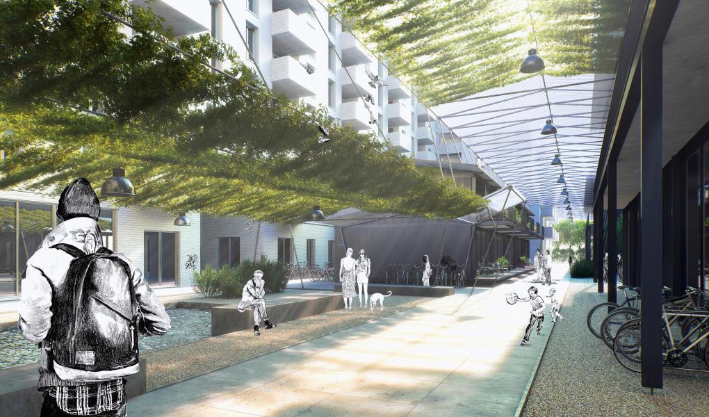 Siegerprojekt Souq: der Innenhof als Mittelpunkt. Die Fassaden sind noch rudimentär. (Visualisierung: Projektverfasser)