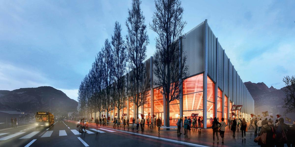Beleuchtete Tribünenuntersicht, die Halle soll zur Landmarke werden. (Visualisierung: Projektverfassende)