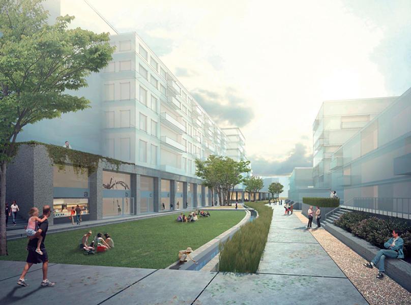Siegerprojekt «Strawberry Fields» (BHSF Architekten mit Christian Salewski): Das Zentrum des Quartiers bildet ein langgestreckter Park, durch den der Stadtbach fliesst. (Visualisierung: Projektverfasser)