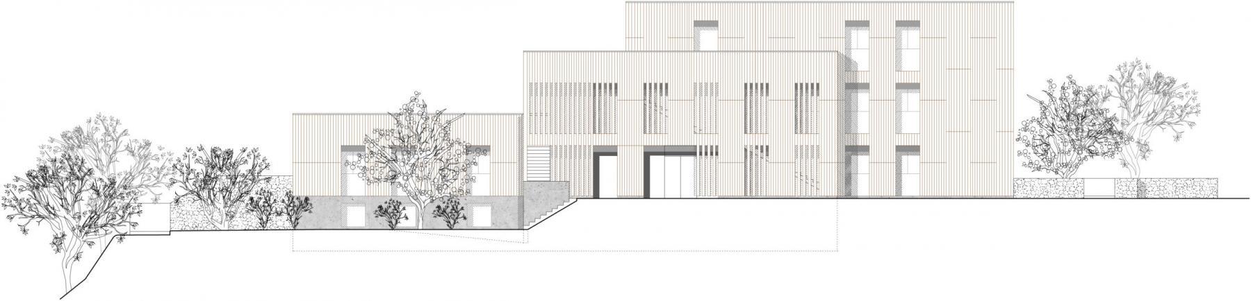 Siegerprojekt Trias, Nordfassade (Plan: Blättler Heinzer Architektur, Zürich)