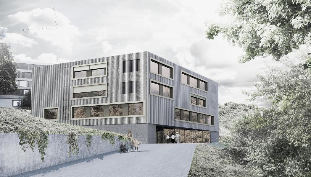 Das Siegerprojekt profitiert aufgrund seiner geringen Höhe von einem verkleinerten Grenzabstand. Die hinterlüftete Fassade aus stehenden Aluminiumprofilen fasst das Volumen einheitlich zusammen. (Visualisierung: phalt Architekten)