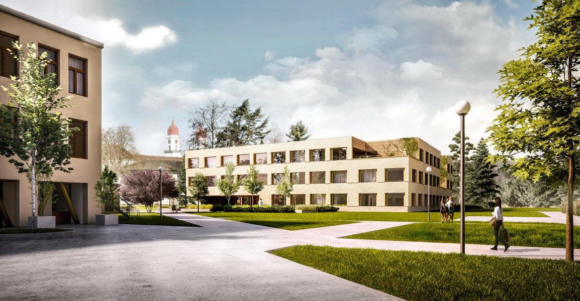 Der Ersatzneubau muss zwischen dem zisterziensischen Kloster und der Klinikanlage aus den 1970er-Jahren vermitteln. Das Projekt setzt auf spannungsreiche Aussenräume und eine zurückhaltende Fassade. (Visualisierung: MOC Arbei