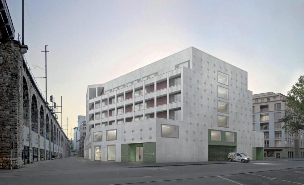Das Gewerbehaus passt seine Erscheinung dem Kontext an. Ansicht von der Heinrichstrasse. (Visualisierung: Projektverfasser)