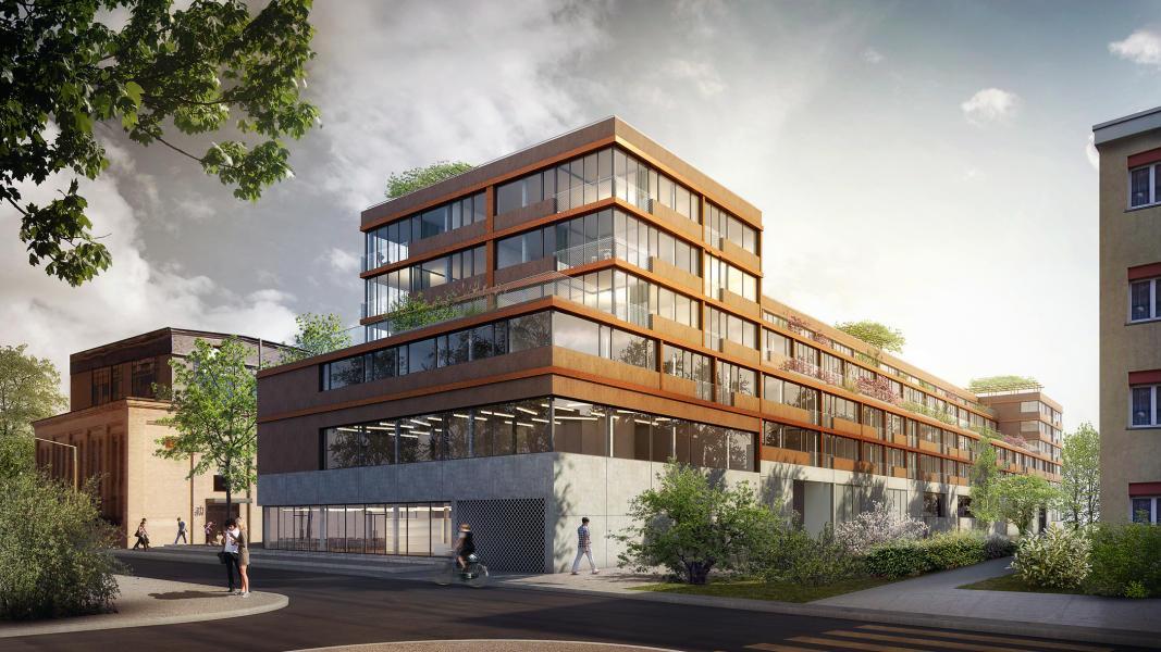 Mit dem Projekt «Schlussstein» findet das Büro Beat Rothen Architektur einen passenden Ausdruck für den Neubau in der Industriebrache. (Visualisierung: Beat Rothen Architektur)