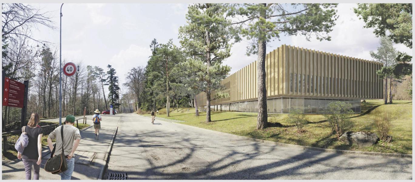 Der auskragende Holzbau bezieht sich auf die Bauten von Max Schlup in Magglingen. (Visualisierung: Kim Strebel Architekten)