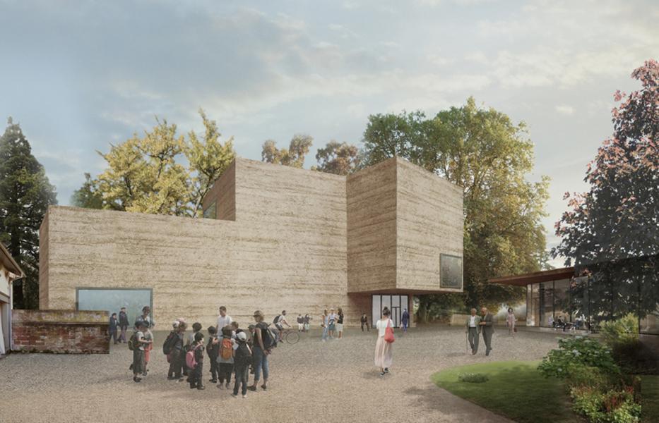 Das Erweiterungsprojekt der Fondation Beyeler von Atelier Peter Zumthor; Haus für Kunst und Pavillon (rechts), Sicht aus dem Berower Park (Courtesy Atelier Peter Zumthor & Partner)