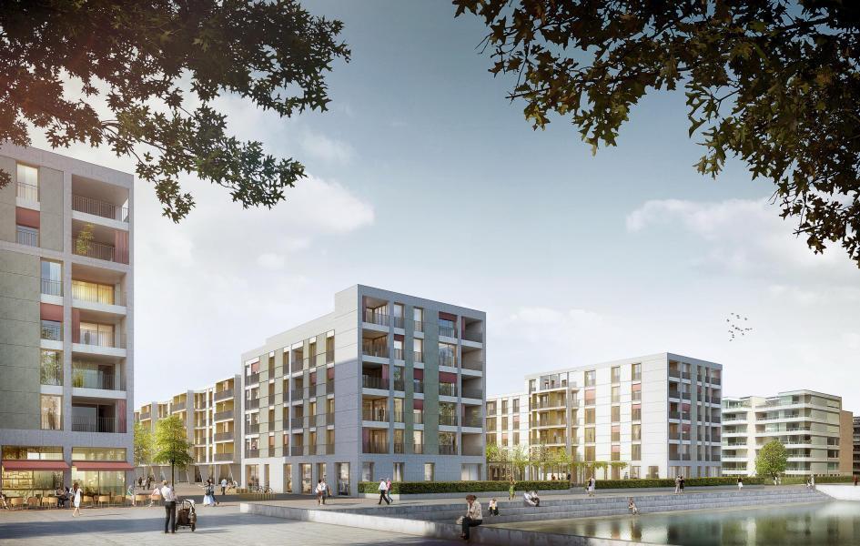 An den Ufern des künstlichen Sees im Opfikerpark: die Kopfbauten des Siegerprojekts «Dogon». (Visualisierung: Pool Architekten)