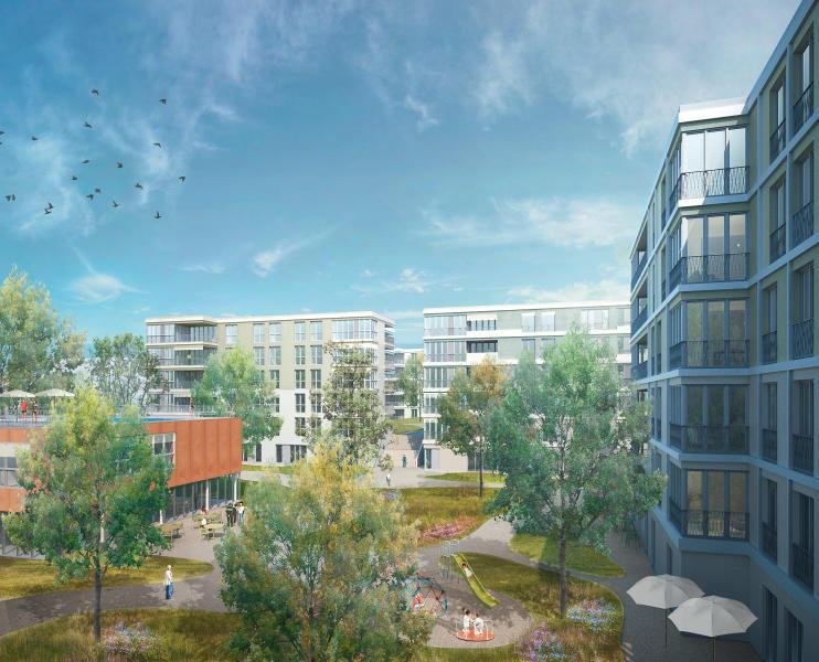 Empfehlung zur Weiterbearbeitung und Realisierung: «Schneewittchen» (Duplex Architekten): Hof mit Gemeinschaftshaus. (Visualisierung: Projektverfasser)