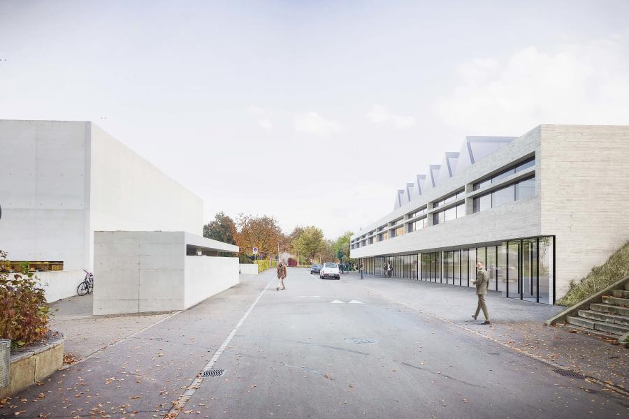 Das Büro Beat Consoni erweitert seine eigene Anlage: links das Gebäude M aus dem Jahre 2008, rechts das Siegerprojekt «Tanzt die Orange». (Visualisierung: Projektverfassende)
