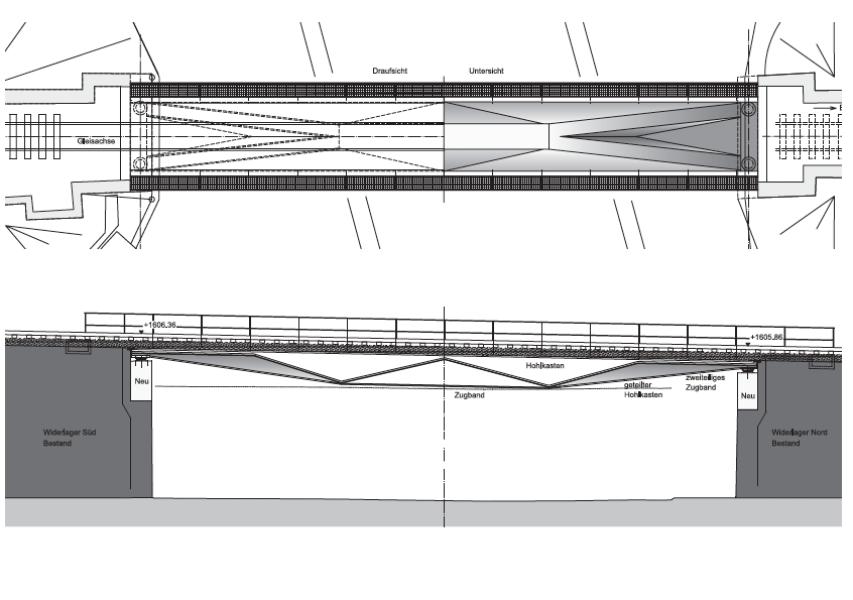 Längsschnitt und Grundriss des Siegerprojekts «Flügel»: Das Tragwerk zeigt eine interessante Brückenuntersicht, und seine Statik wird anschaulich dargestellt. Etwas weniger subtil wirken die gegenüber der ers
