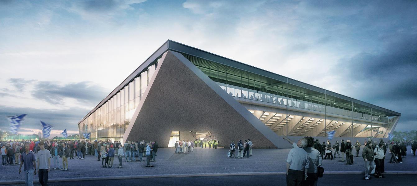 1. Preis «Stade de la Tuilière»: Dreieckige, geneigte Ortbetonwände überdachen und signalisieren die Haupteingänge. (Visualisierung: Projektverfasser)